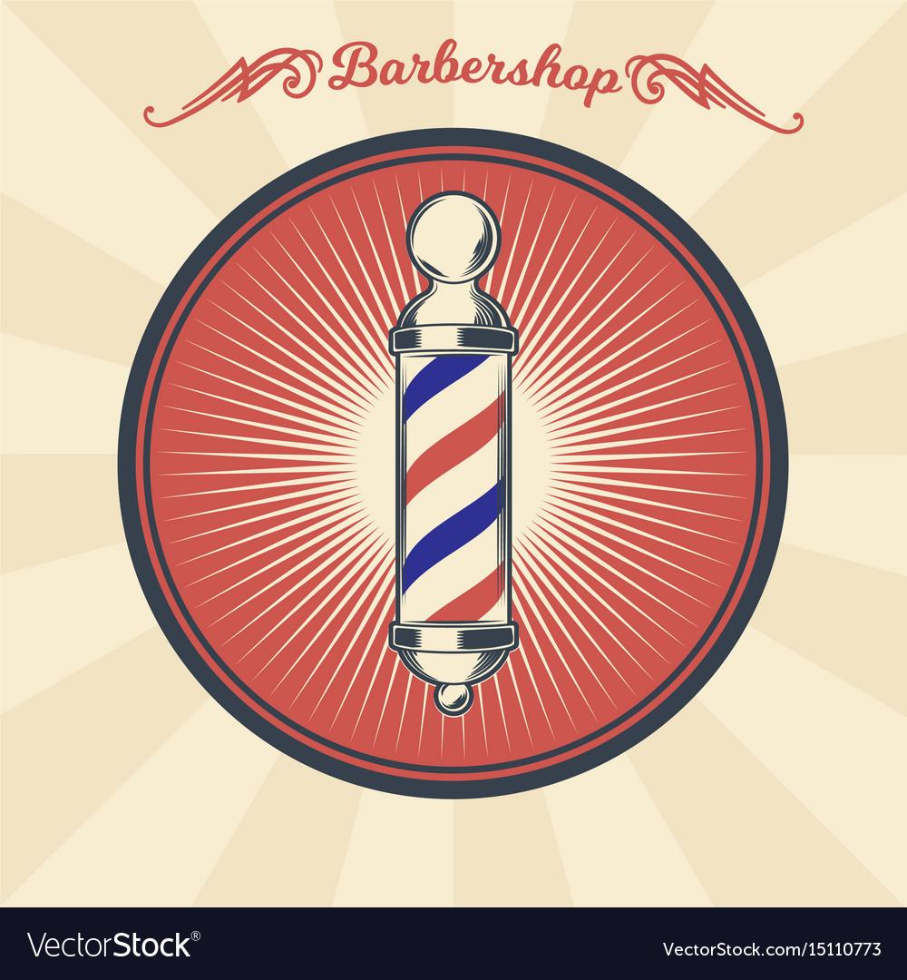 Vintage badge sticker sign with barber vector image