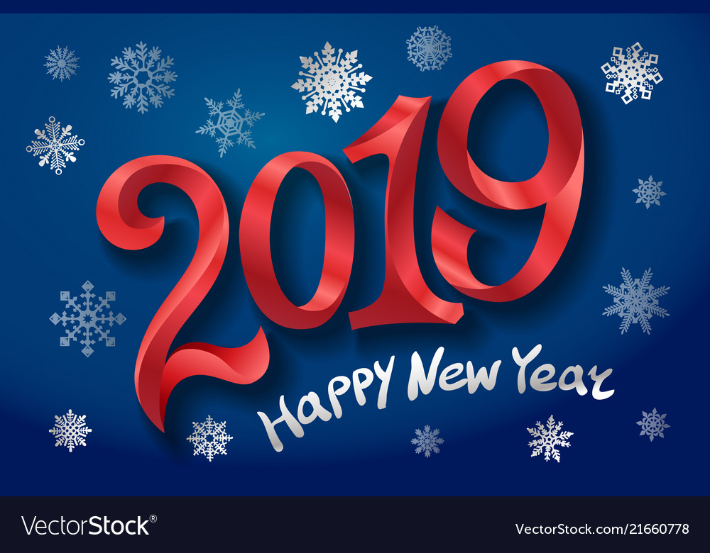 2019 happy new year tape red number on blue