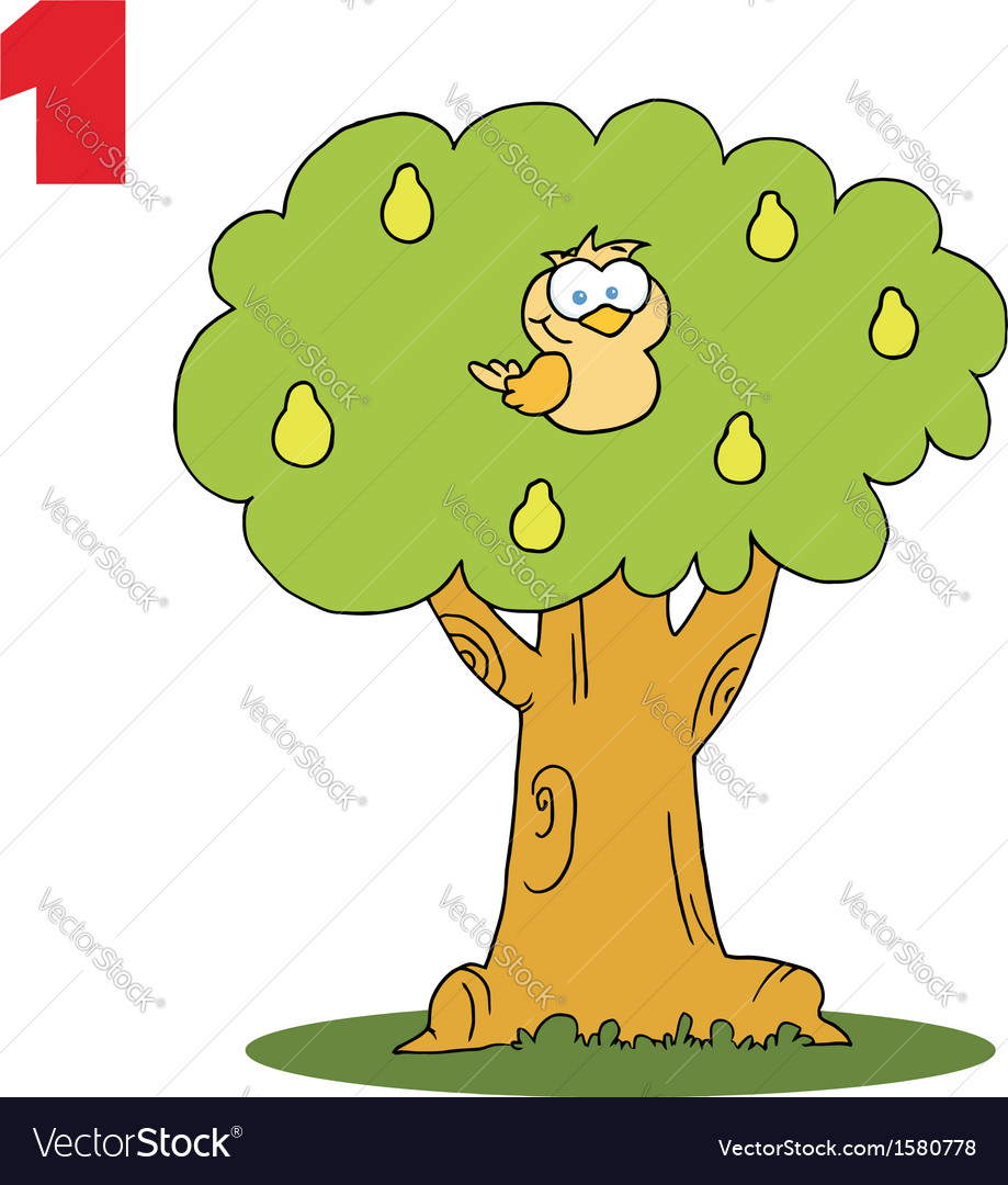 Cartoon bird in a tree
