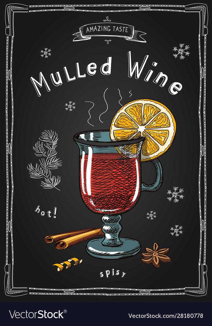 Christmas mulled wine in a glass hot drinks