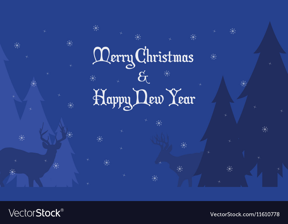 Deer and spruce Christmas landscape vector image