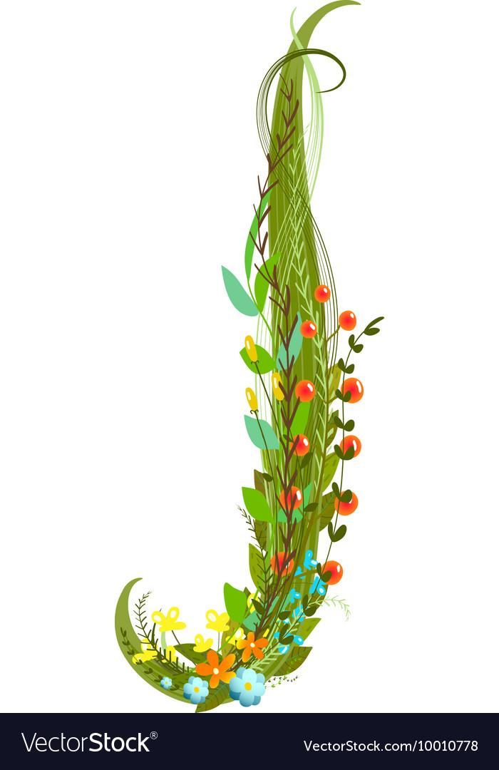 Flower letter J calligraphy floral elegant vector image