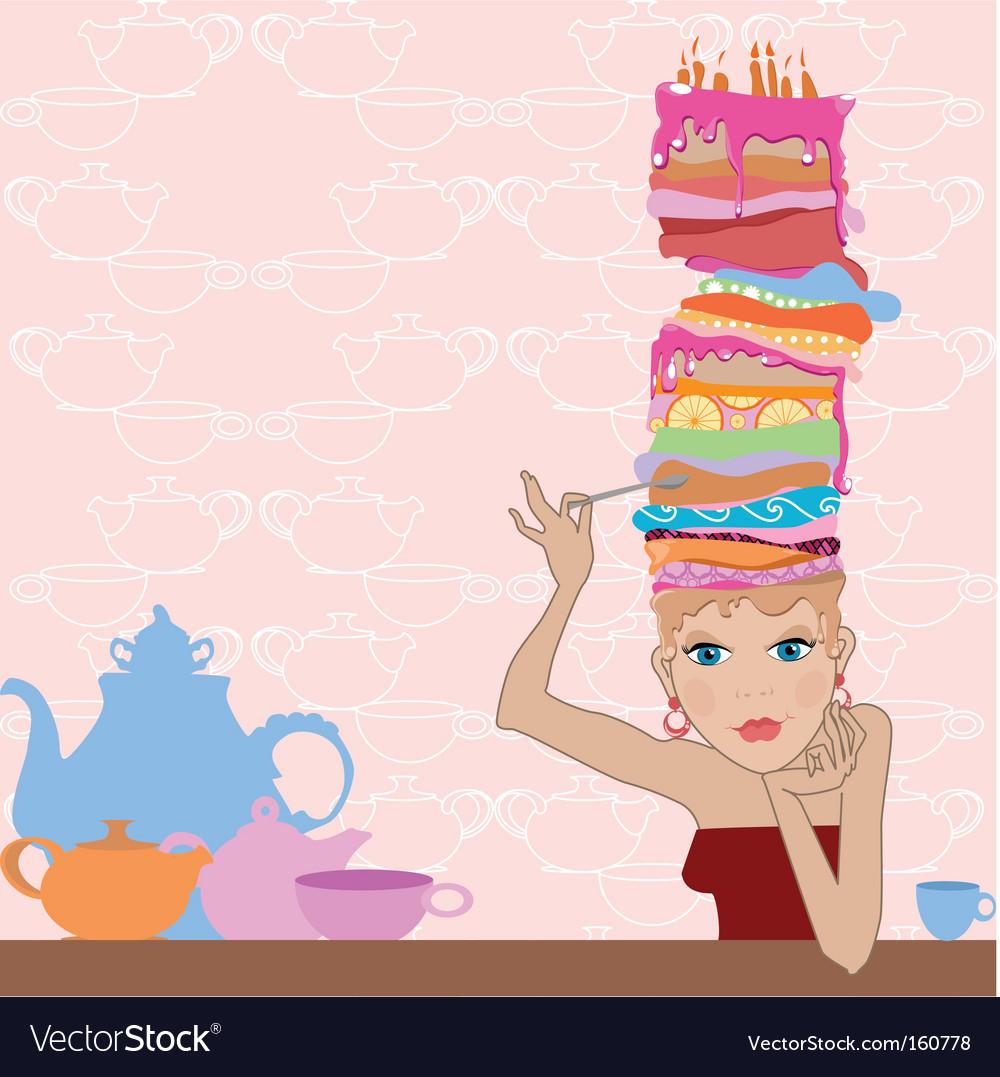 Girl cake vector image