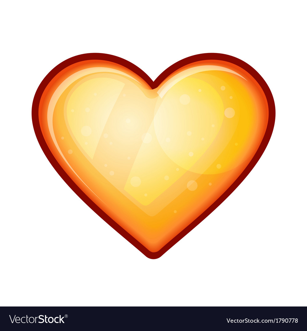 Golden shiny heart shape isolated on white vector image