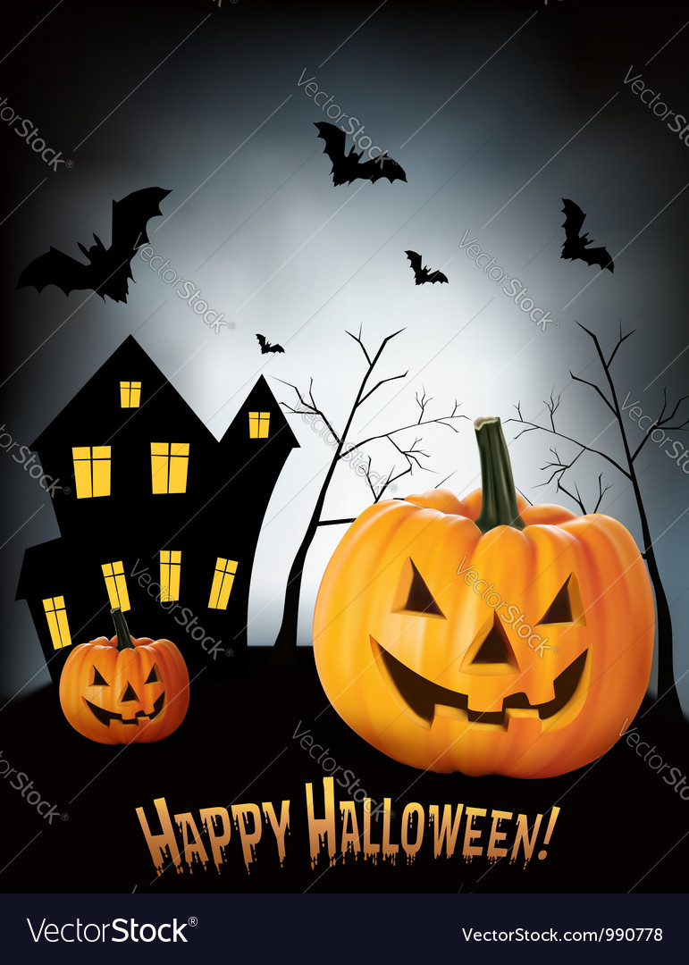 Halloween background with two pumpkins and house