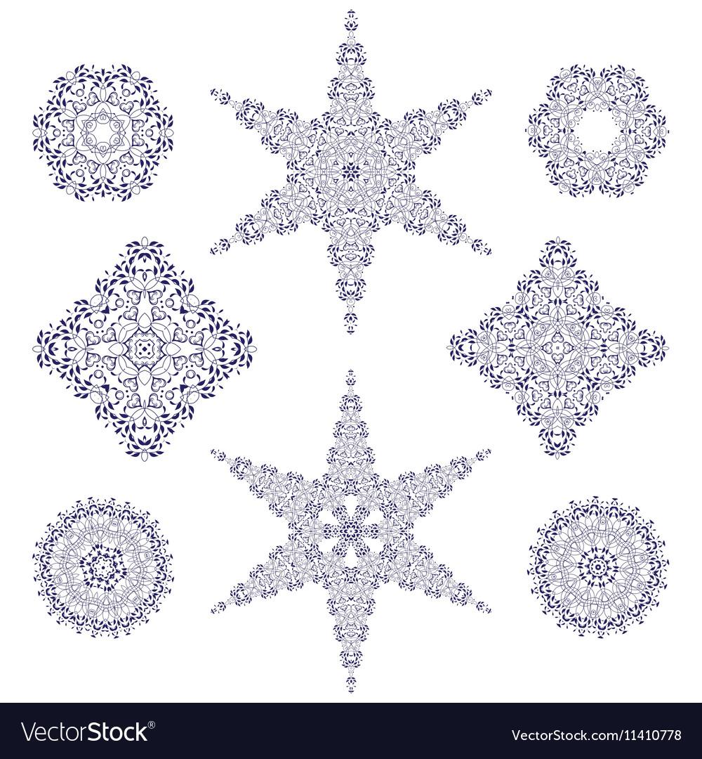 Hand-drawn christmas lace frame mandala