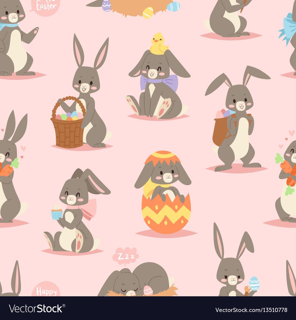 Happy adorable rabbit cartoon character cheerful