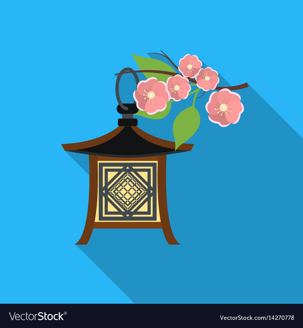 Japanese lantern icon in flat style isolated on