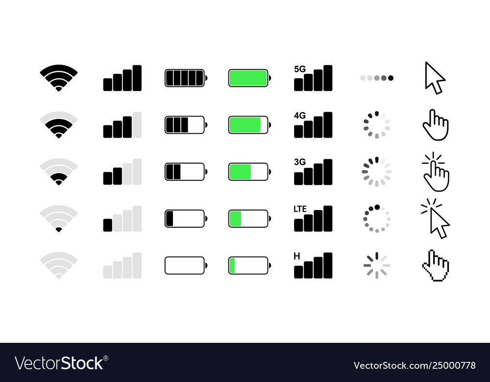 mobile phone system icons wifi signal strength vector image https www vectorstock com royalty free vector mobile phone system icons wifi signal strength vector 25000778