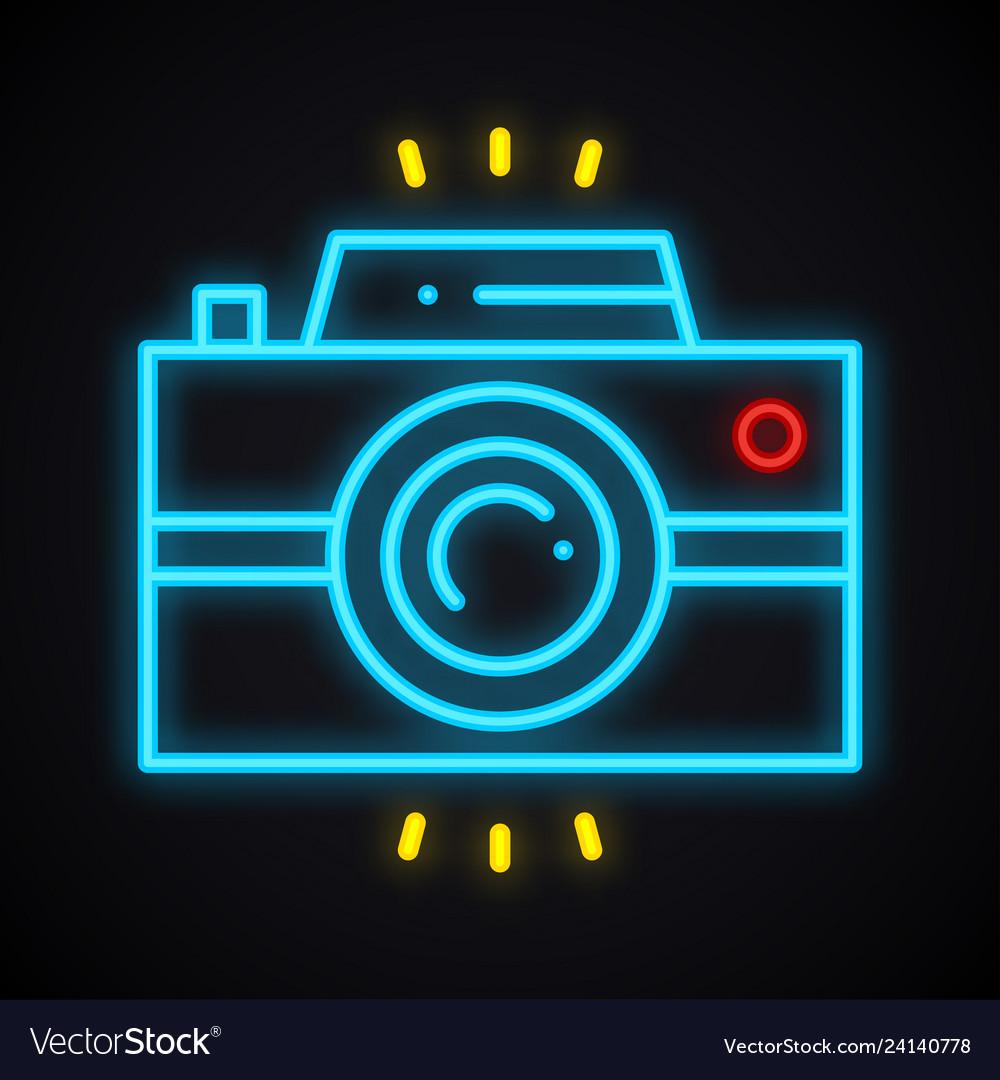 Neon camera sign bright photo camera symbol