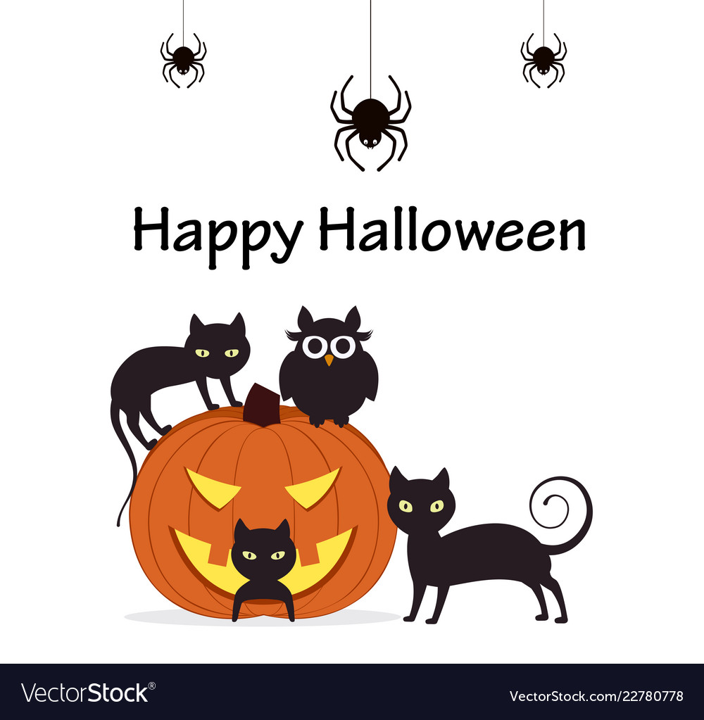 Pumpkin with cats owl and spiders