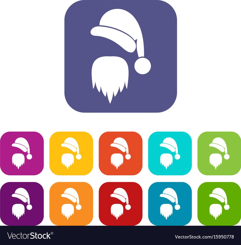 08d88b9d583 Santa claus hat and beard icons set Royalty Free Vector