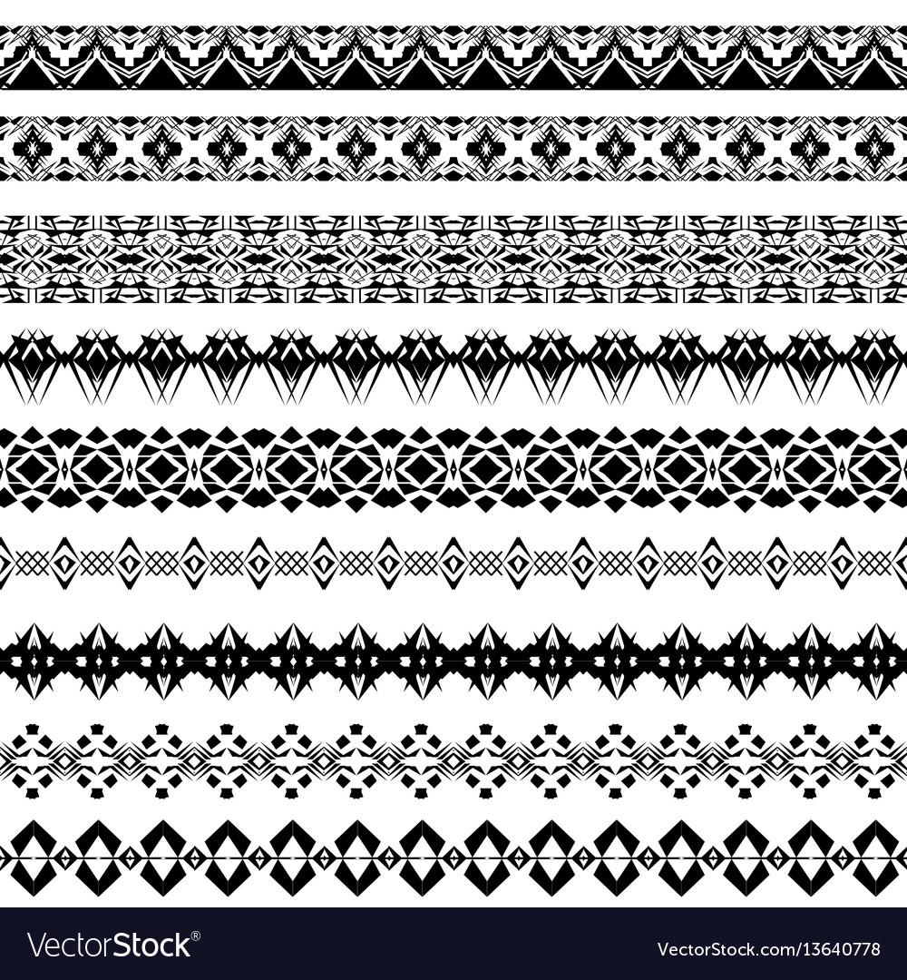 Set of geometric black borders in ethnic style