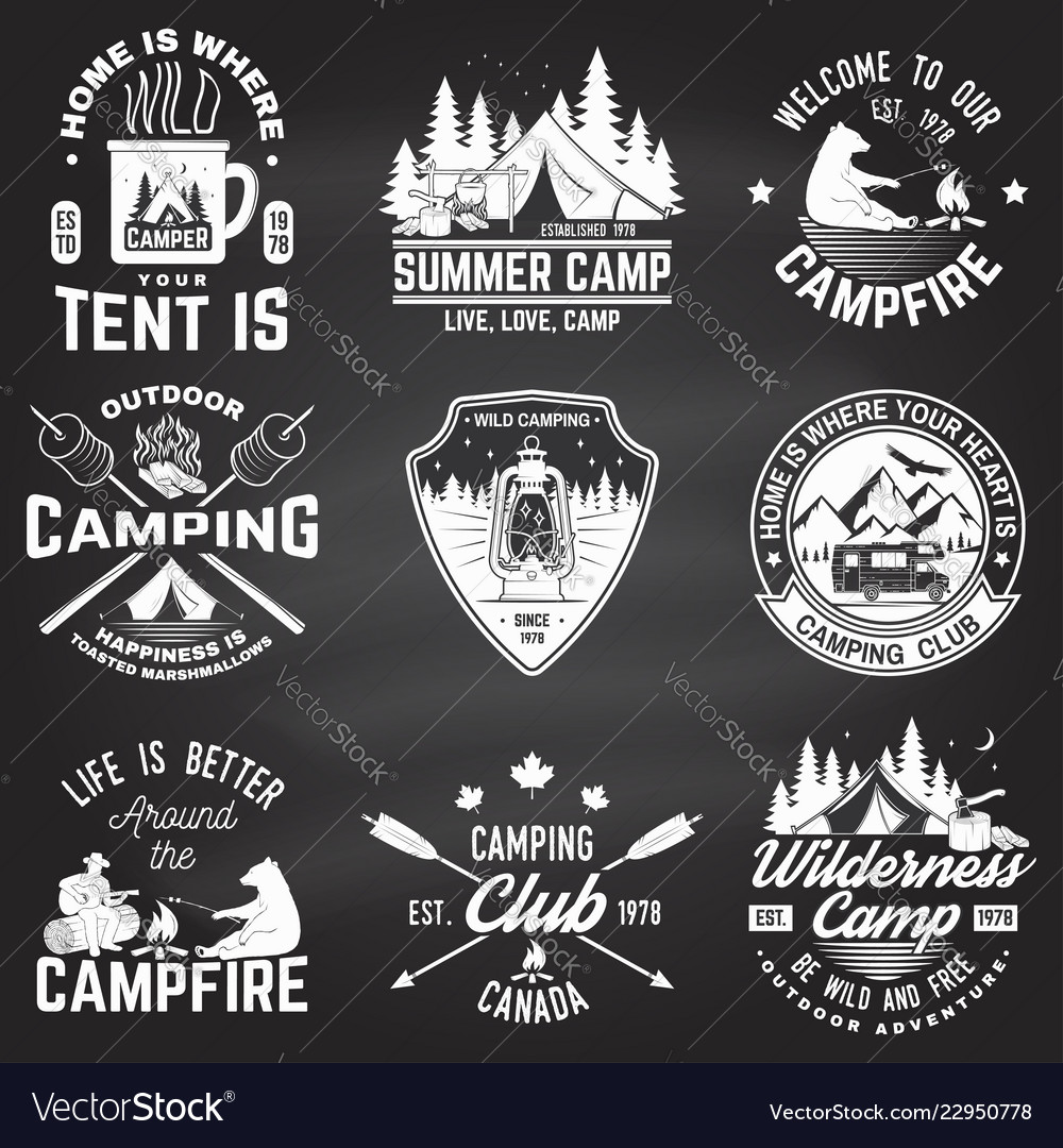 Summer camp on the chalkboard concept for