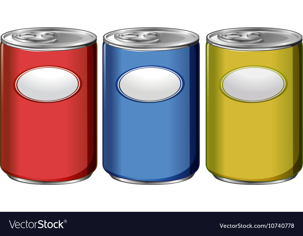 Three cans with different color labels vector image