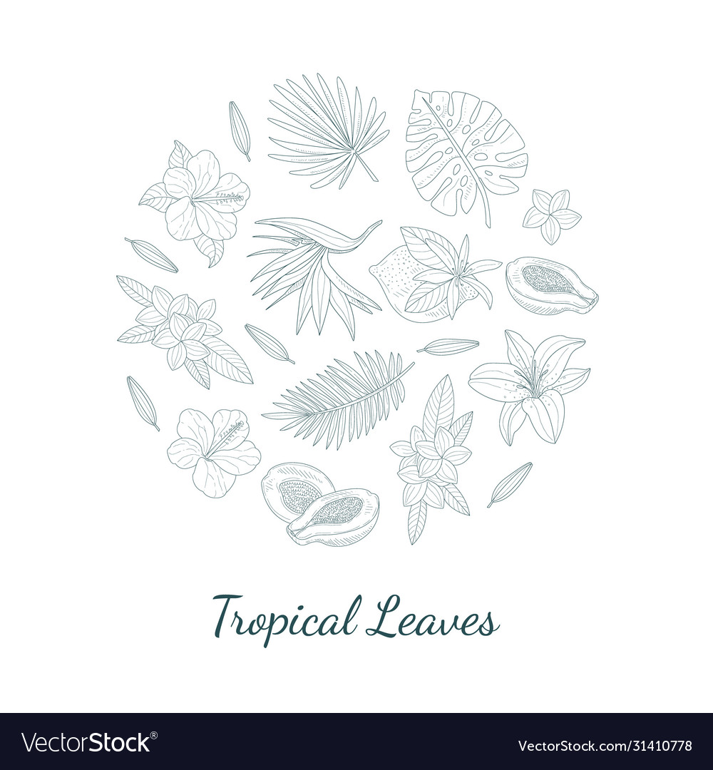 Tropical leaves and flowers round shape hand