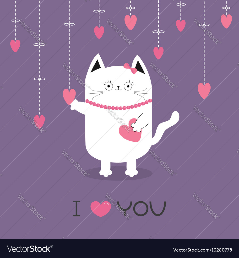 White cat hanging pink hearts dash line heart