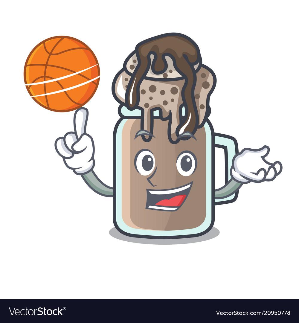 With basketball milkshake character cartoon style