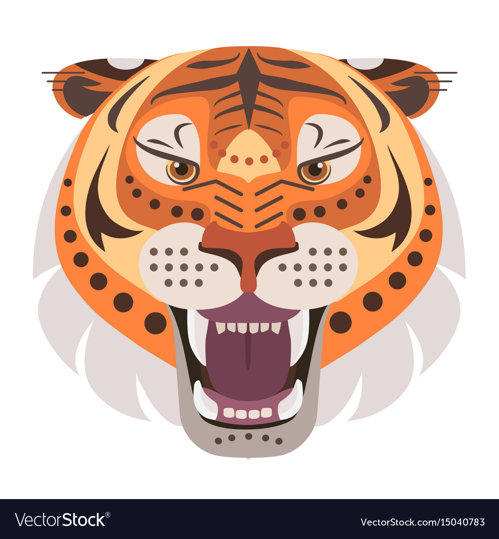 Angry tiger head logo decorative emblem