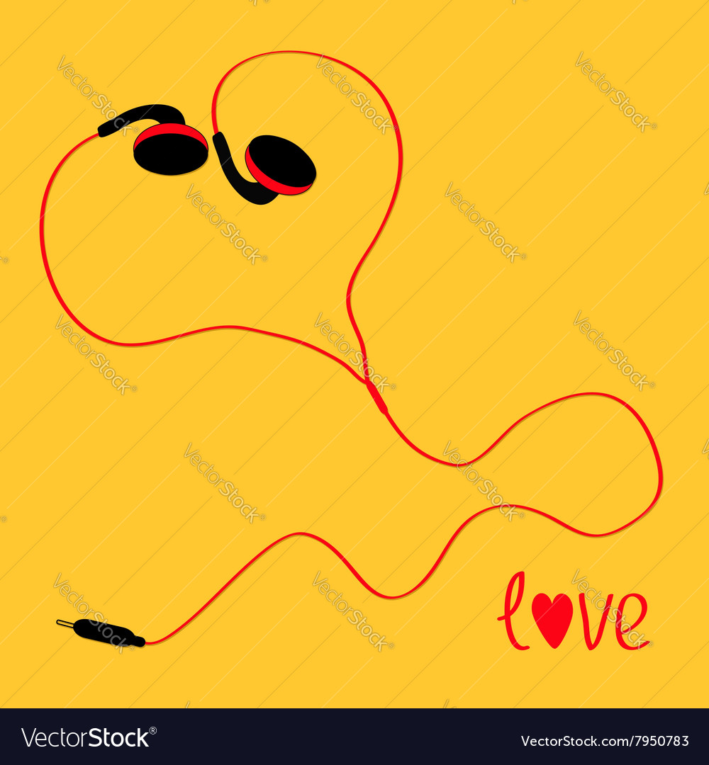 Black and red cord earphones icon Music love card