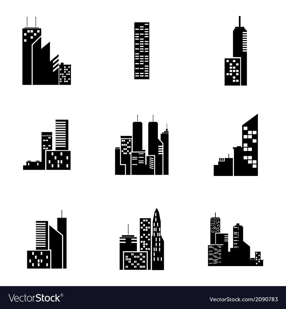 Black building icons set