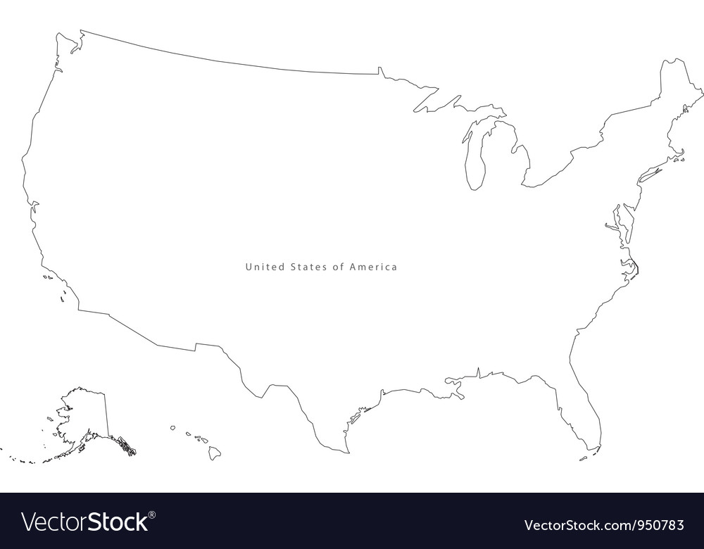 Black White USA Outline Map Royalty Free Vector Image