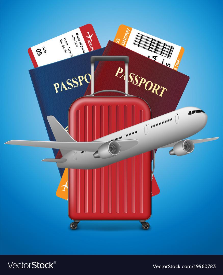 Business trip banner with passport tickets