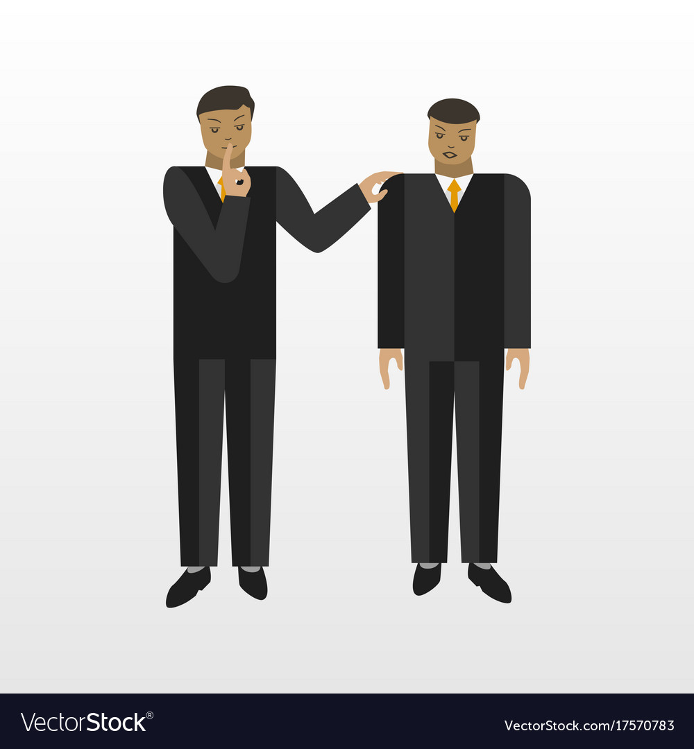 Businessman tell a secret to another person