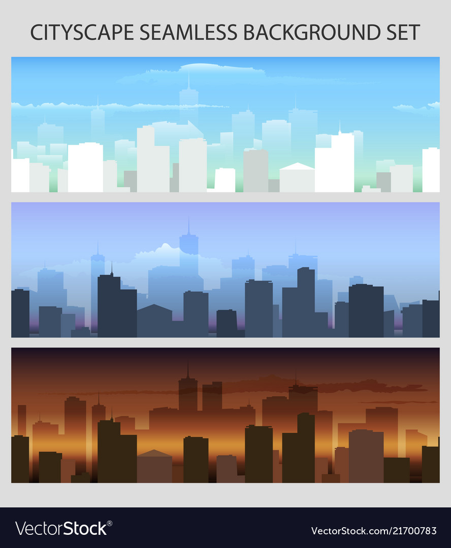 Colorful seamless cityscape set