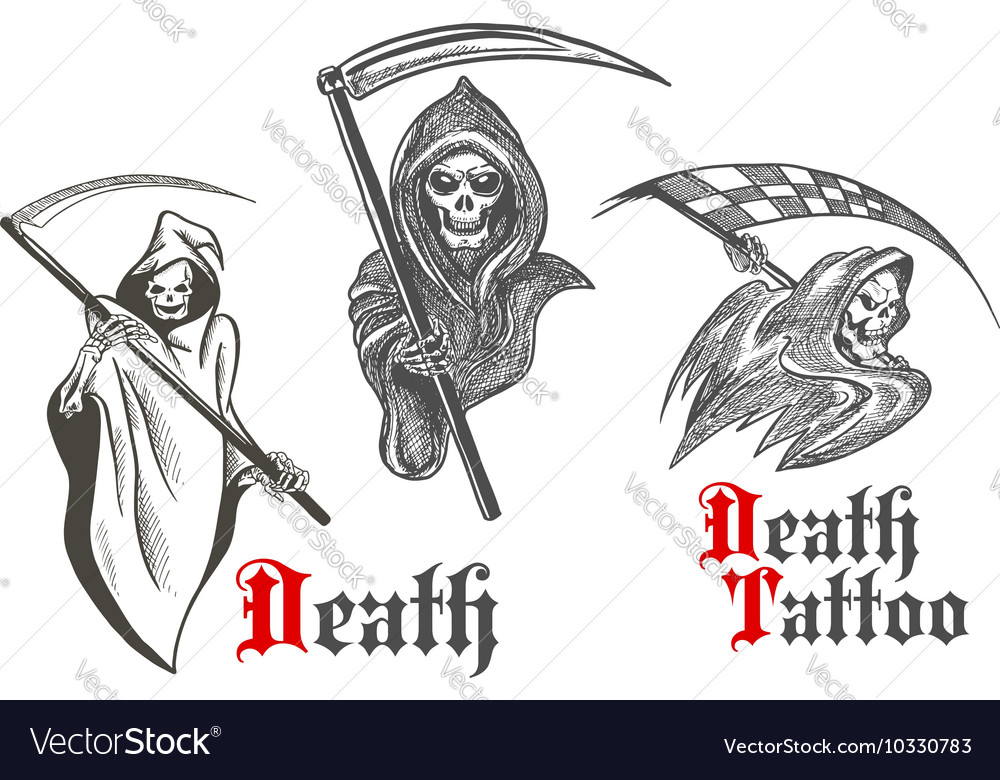 Death tattoo design with sketched grim reapers