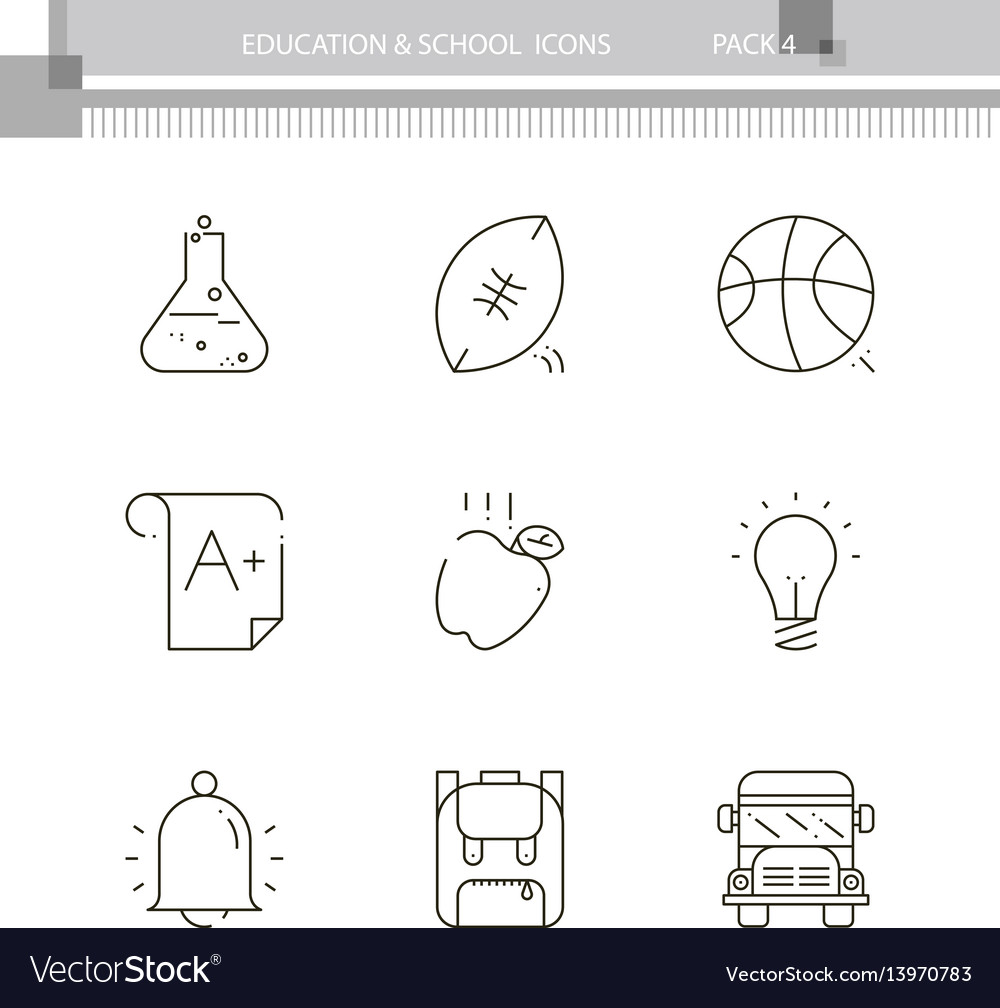 Education and school outline icon collection