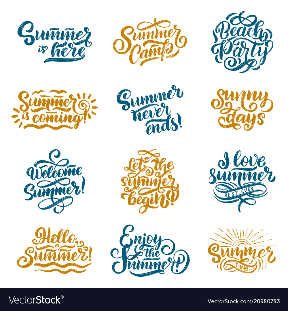 Hand drawn set with lettering about summer