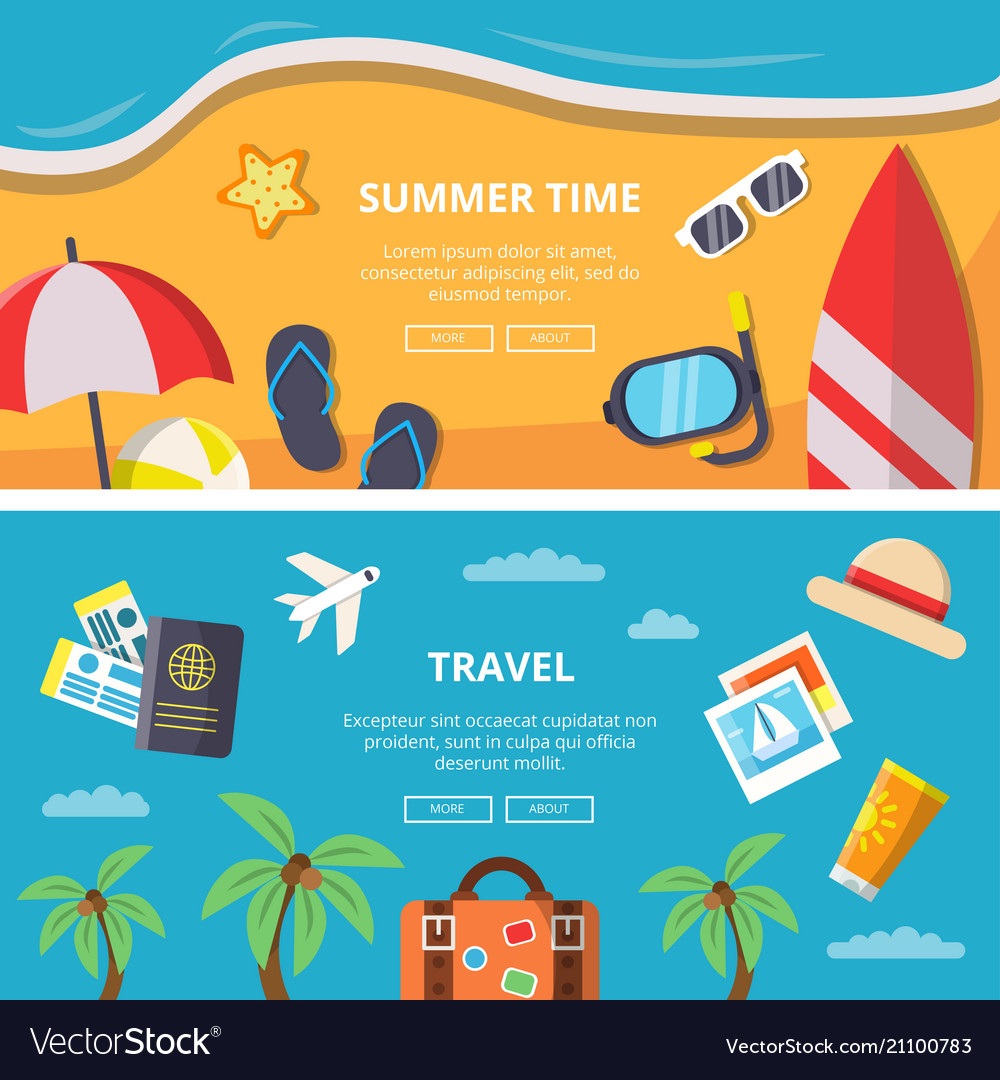 Horizontal banners with summer time pictures