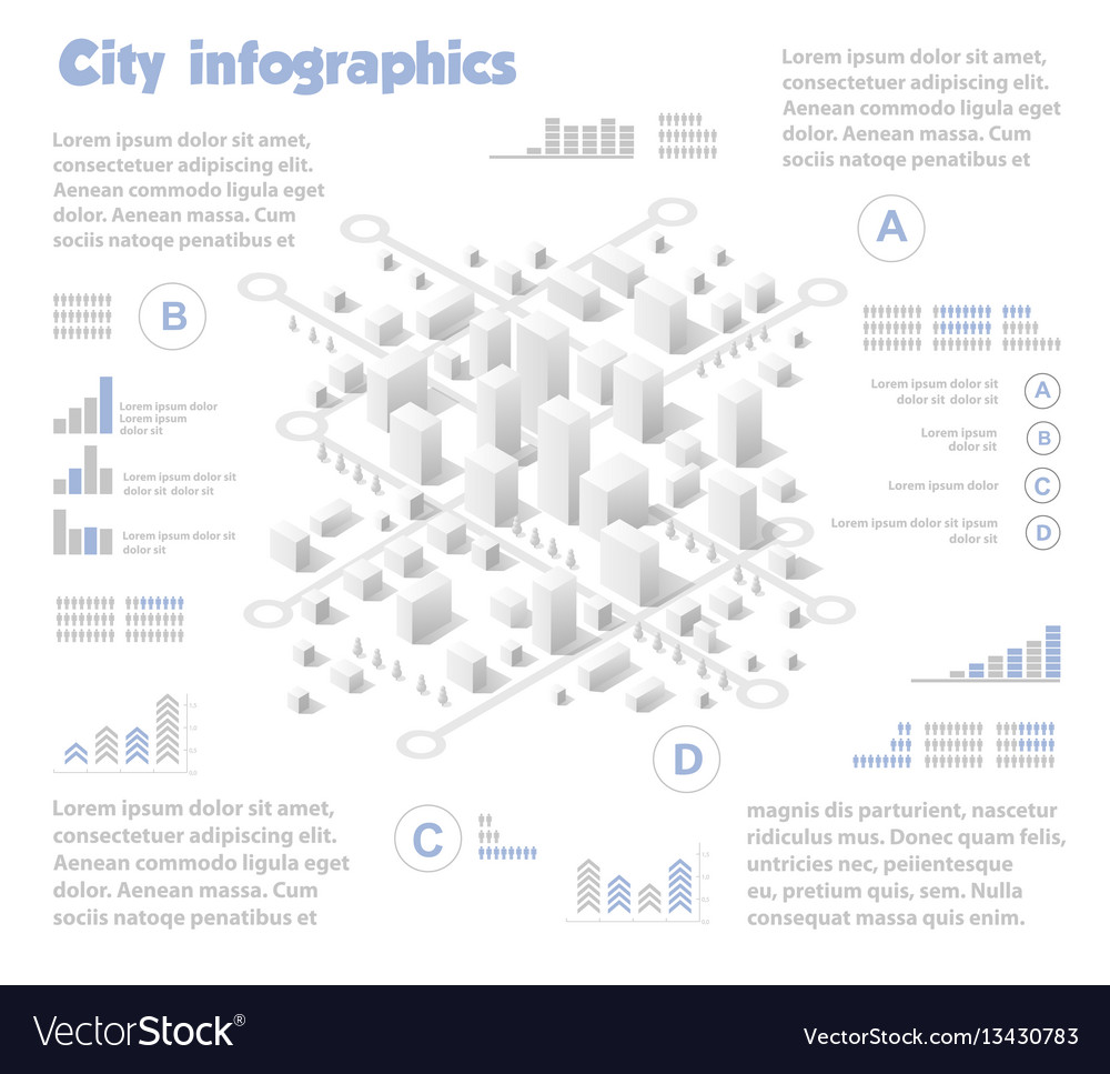 Isometric city map industry