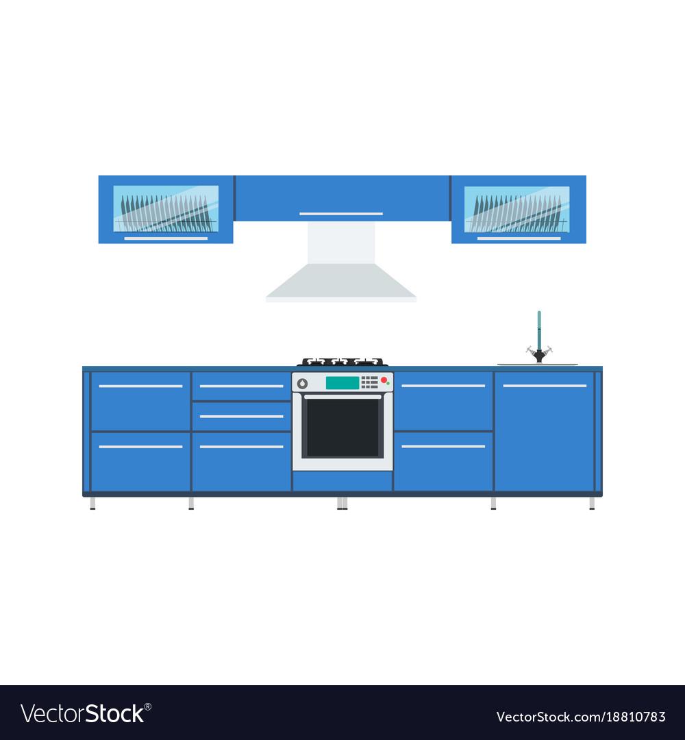 Kitchen design interior modern food menu vector image