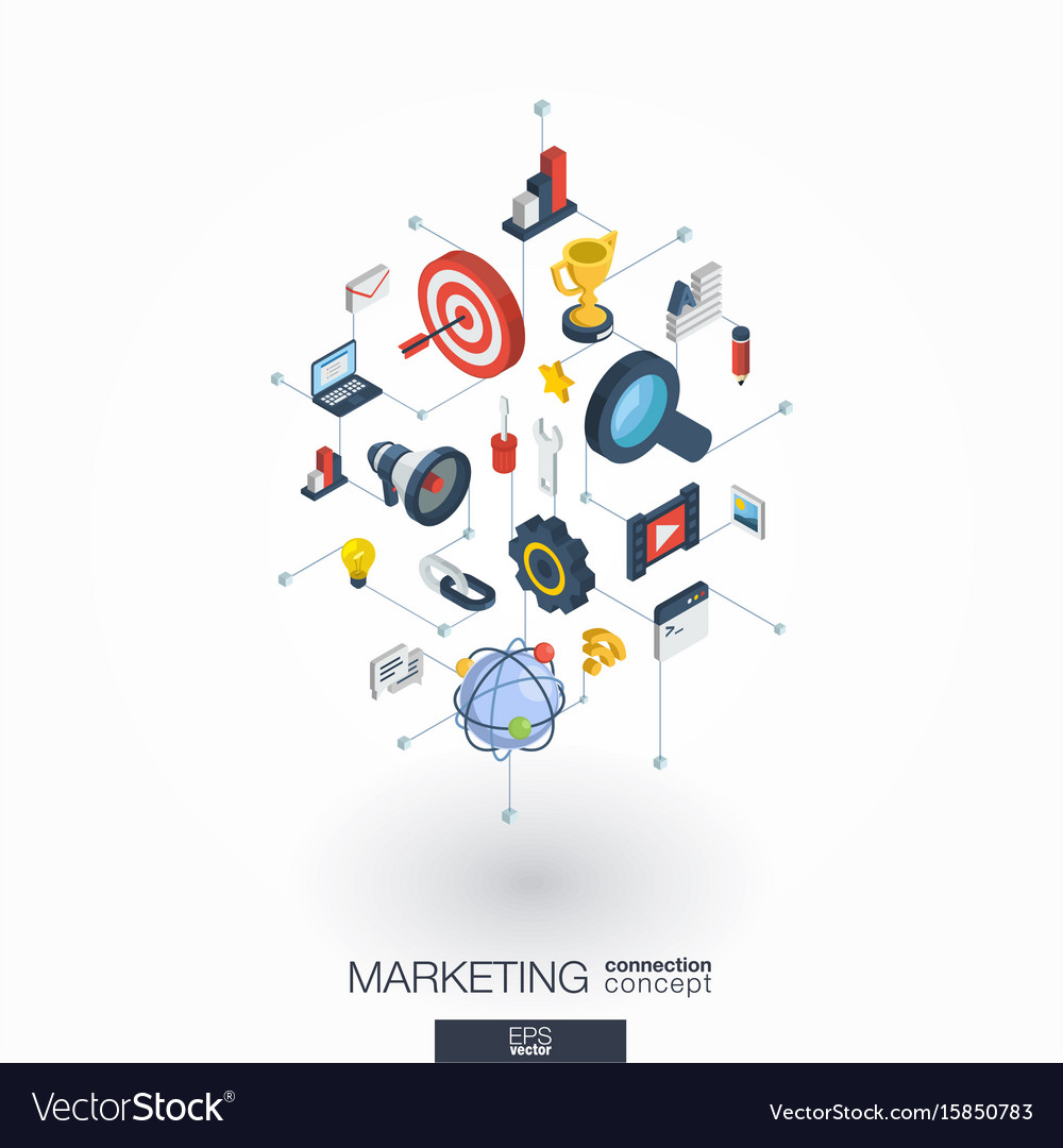 Marketing integrated 3d web icons digital network