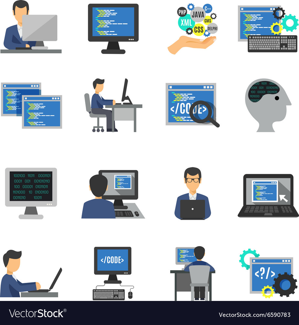 Programmer Icons Flat Set vector image