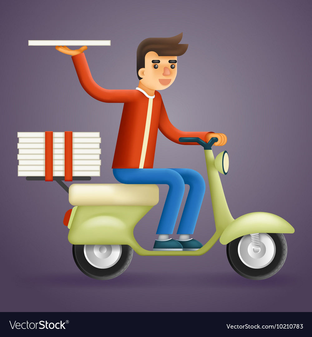 Realistic Pizza Delivery Courier Motorcycle