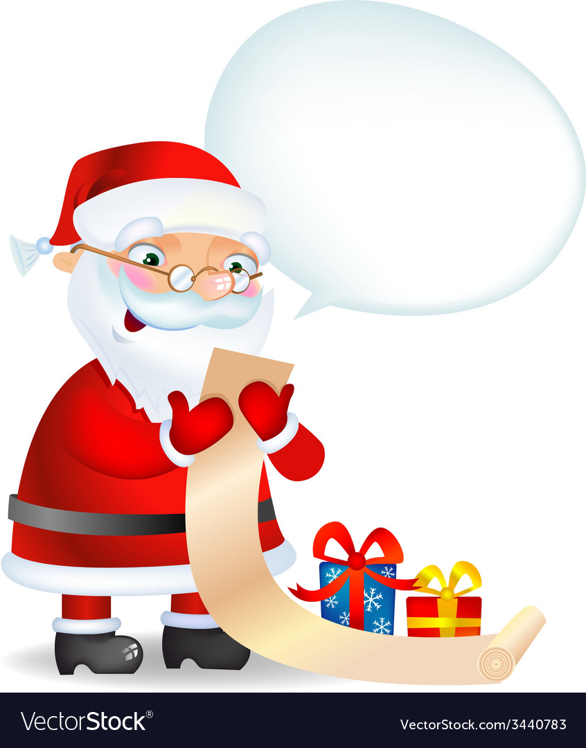 Santa Claus checking his list vector image