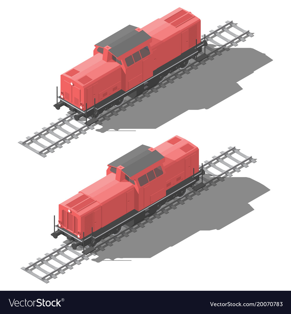 Shunting diesel locomotive isometric low poly icon