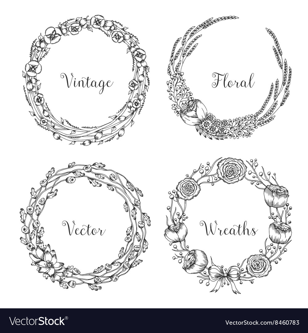 Vintage wreaths Collection of trendy cute
