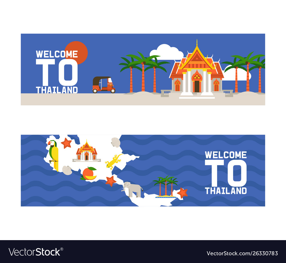 Welcome to thailand set banners traditions