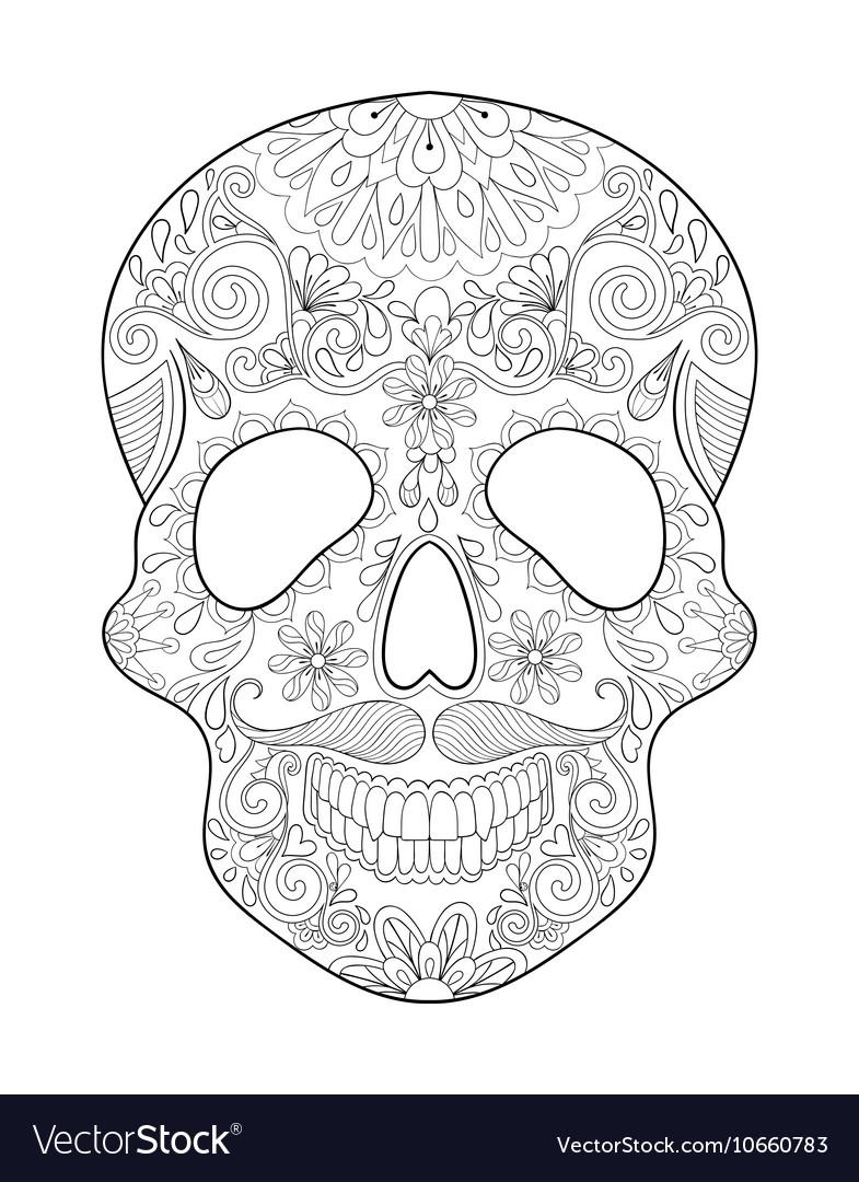 Zentangle Stylized Skull For Halloween Freehand Vector Image