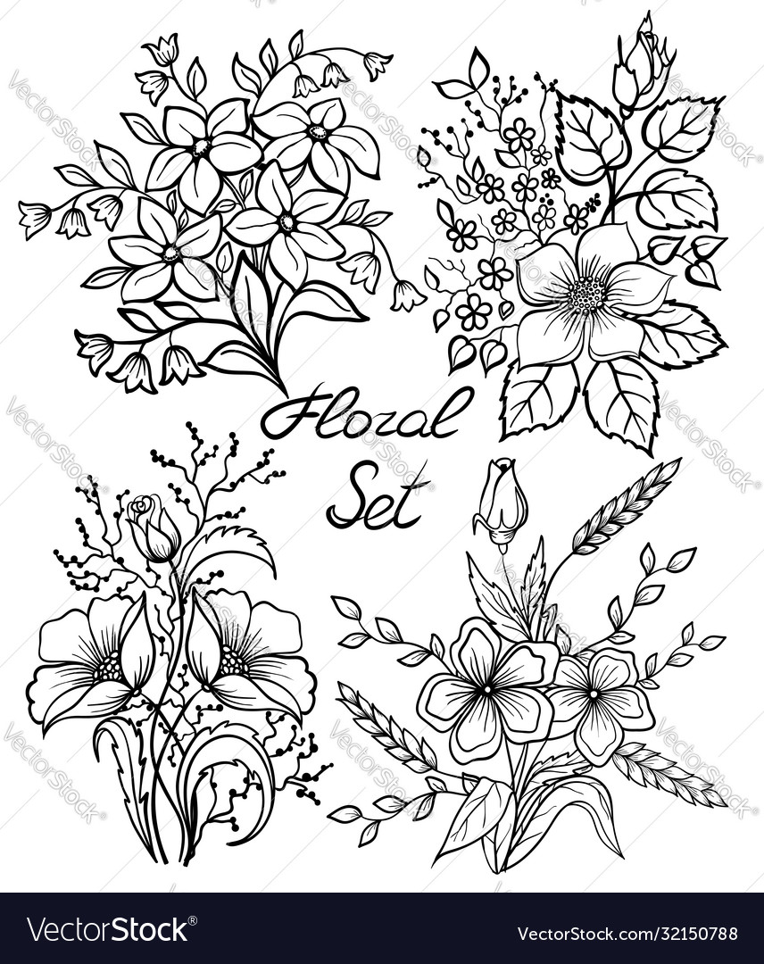 Black and white flowers set floral collection