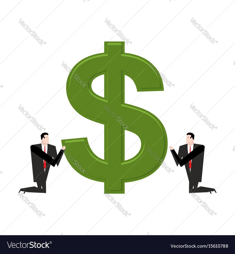 Businessman praying to dollar prayer cash pray vector image