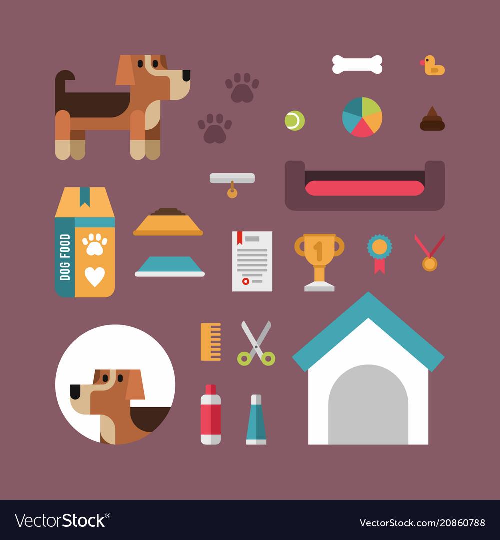 Dog stuff icons flat set for pet shop domestic vector image