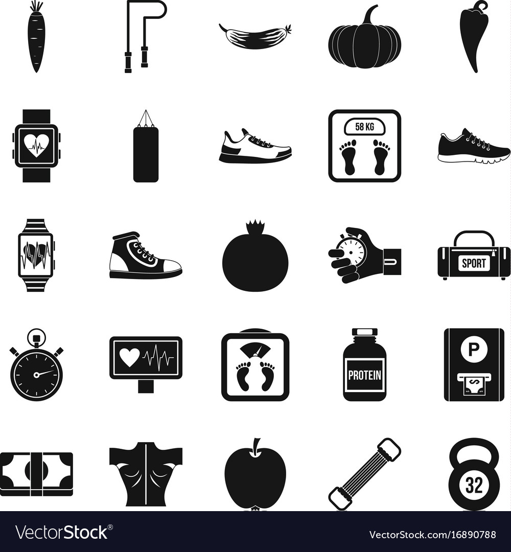 Fitness icons set simple style
