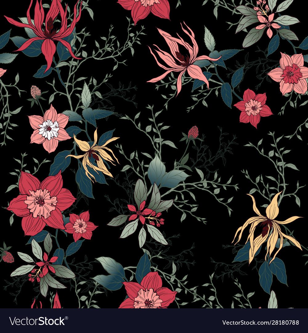 Floral Pattern On A Black Background Royalty Free Vector