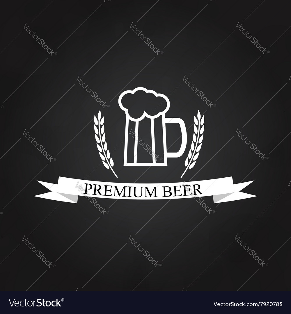 Glass of beer logo on the chalkboard