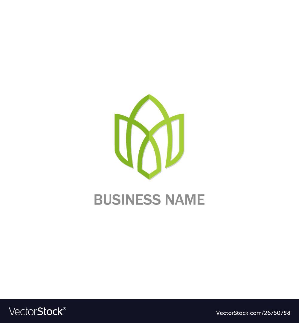 Green leaf ornament line shape logo